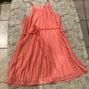 Women's dress chiffon like material peach